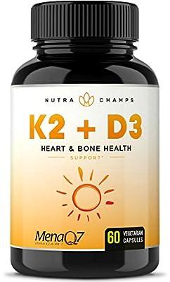 Vitamin K2 MK7 with D3 Supplement for Strong Bones & Healthy Heart - Premium Vitamin D & K Complex - 5000 IU of Vitamin D 3 & 100 mcg of MenaQ7 Vitamin K 2 MK-7 - 60 Small Vegan Capsules