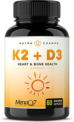 Vitamin K2 MK7 with D3 Supplement for Strong Bones & Healthy Heart - Premium Vitamin D & K Complex - 5000 IU of Vitamin D 3 & 100 mcg of MenaQ7 Vitamin K 2 MK-7 - 60 Small Vegan Capsules (Vitamin D3 Mk7)