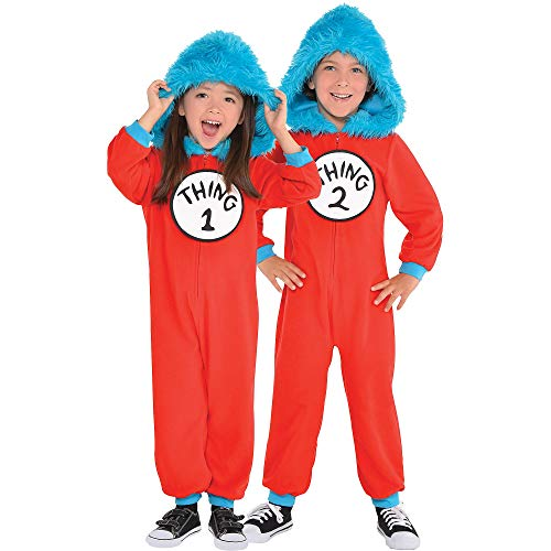 Costumes USA Dr. Seuss Thing 1 & Thing 2 One Piece Halloween Costume for Toddlers, 3-4T, with Attached Hood]()