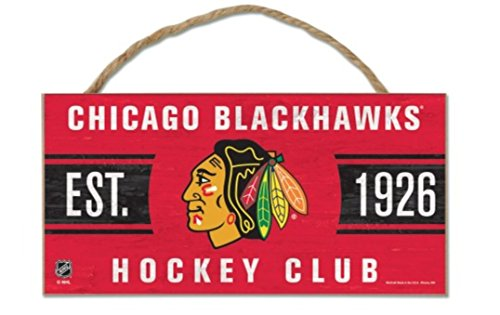 WinCraft NHL Chicago Blackhawks WCR38167014 Wood Sign with Rope, 5