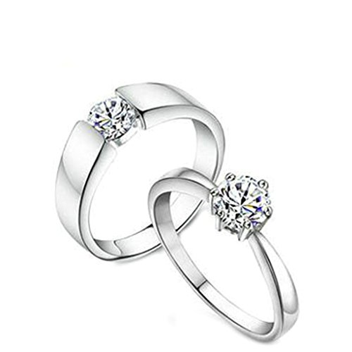 [Bishilin Silver Plated Solitaire Cubic Zirconia CZ Couple Wedding Rings For His and Her Size 11] (His And Her Costumes 2016)