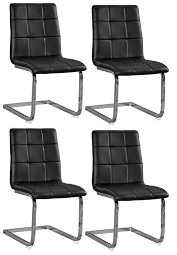 Signature Design By Ashley - Madanere Dining Upholstered Side Chair - Set of 4 - Contemporary Style - Black/Chrome Finish