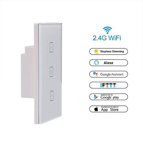 Dragon-Hub Smart Dimmer Switch WiFi Touch Stepless Wall Light Switch Sensor Panel Work with Alexa/Google Home/smart life APP Remote Control, Timing Function, Overload Protection AC 100-240V Maximum by Dragon-Hub (Image #2)