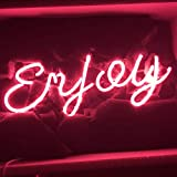 LiQi Enjoy Neon Sign (13.5'' x6'' Large)Real Glass Acrylic Panel Handmade for Home Bedroom Pub Hotel Beach Recreational Game Room Decor