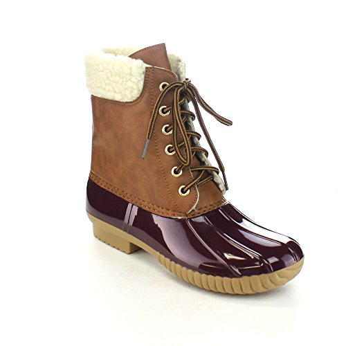 Bordeaux Lined 3 Boot Tone Two Sherpa Womens Dylan Rain Lace Snow Faux up AXNY Duck q6BRZwxUf