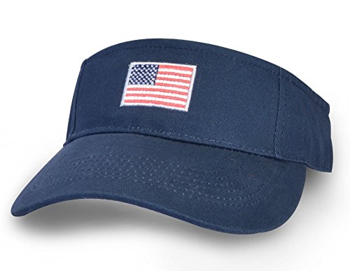 193ede4e4c3 Amazon.com  KC Caps Men American Flag Sports Tennis Golf Sun Visor Hat  Patriotic Women Polo Sun Cotton Twill Embroidered Adjustable Closure Cap   Sports   ...