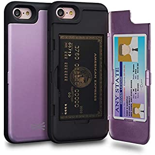 TORU CX PRO iPhone SE 2020 Case, iPhone 8 Case, iPhone 7 Case Wallet Purple with Hidden Card Holder + ID Card Slot Hard Cover & Mirror for iPhone SE 2020/iPhone 8 /iPhone 7 - Lavender