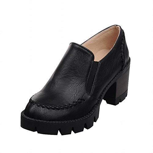 Bungee Oxford - Show Shine Women's Fashion Chunky Heel Bungee Shoes (8, Black)