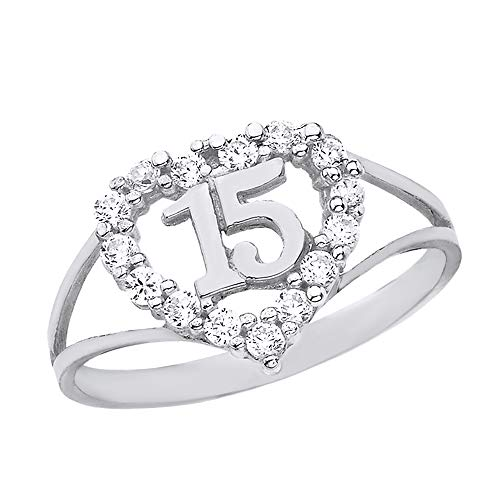 Solid 925 Sterling Silver Sweet 15 Anos CZ Quinceanera Heart Ring (Size 5) ()