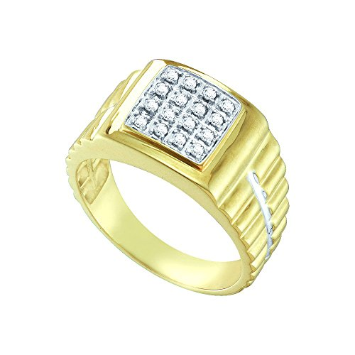 Ring Cluster Mens Diamond (Sonia Jewels Size 10.5-10k Yellow Gold Mens Round Diamond Square 2-tone Cluster Ring (1/4 Cttw))