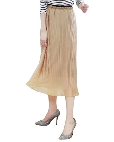 Mujer Largo Falda de Gasa Enaguas Cintura Elástica Plisado Falda camello