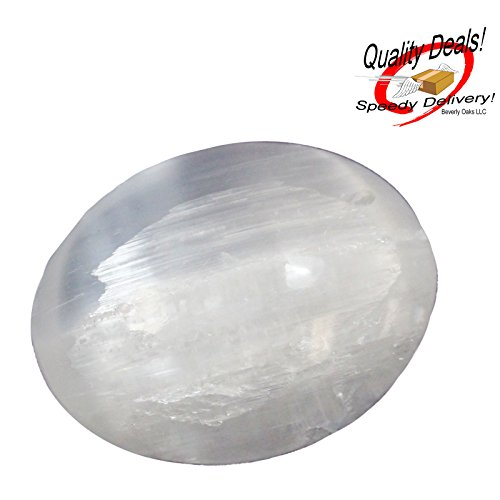 1 (One) Large Crystal Selenite Spiritual Healing Massage Palmstone with Certificate of Authenticity Beverly Oaks Exclusive