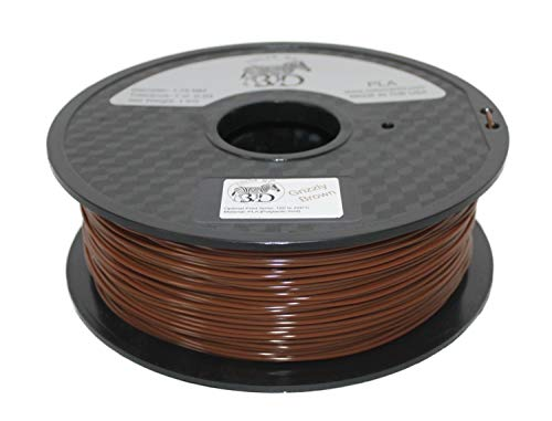 COLORME3D Quality 3D Printer Filament Grizzly Brown PLA-1KG (2.2 LBS) Made in The USA 1.75 mm +/- 0.05 mm Accuracy-Grizzly Brown PLA