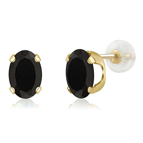 lack Onyx 14K Yellow Gold Stud Earrings (Black Onyx Circle Ring)