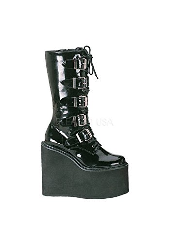 Patent Buckle Boots Knee Platform - Demonia by Pleaser Women's Swing-220 5 Buckle Platform Boot,Black Patent,12 M US