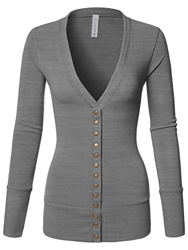 Luna Flower Women's V-Neck Snap Button Long Sleeve Soft Basic Knit Snap Cardigan Sweater Heather_Grey Large (GCDW027)