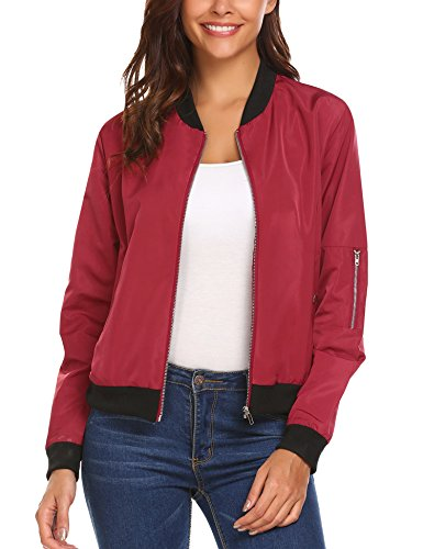 HOTOUCH Women's Warm Relaxed long sleeve Fit Zipper Bomber Jackets Wine Red L by Hotouch