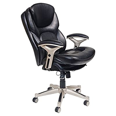 Serta Back in Motion Health & Wellness Eco-friendly Bonded Leather Mid-Back Office Chair - Smooth Black by Millwork Holdings Inc