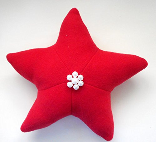 SSJSHOP Coastal Christmas star pillows, holiday decor, nautical holiday decor, beaded xmas bowl fillers, red stars, shelf sitter star pillows (Georgetown Led Sign)
