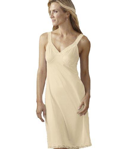 "Shadowline Stretch Lace Strap Full Slip, 24"" Ivory, Size 38"