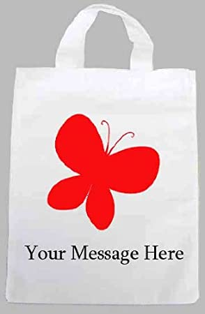 Personalised fabric printed party tote bag butterfly design