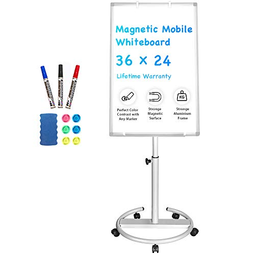 Mobile Whiteboard - 36 x 24 inches Portable Magnetic Dry Erase Board Stand Easel White Board Dry Erase Easel Standing Board w/Flipchart Hooks (24 X 36 Magnetic Dry Erase Board)