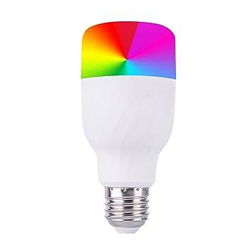 YDYG - Bombilla LED RGB de 12 W con Control Remoto de Amazon Alexa Echo para Smartphones iOS y Android, Equivalente a 60 W, Color Blanco: Amazon.es: Hogar