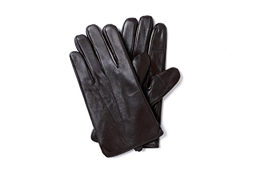 YISEVEN Men's Sheepskin Leather Gloves Three Points Wool Lined Real Luxury Design Soft Hand Warm Fur Heated Lining for Winter Stylish Dress Work Xmas Gift and Motorcycle Driving, Brown 095/Large by YISEVEN (Image #3)