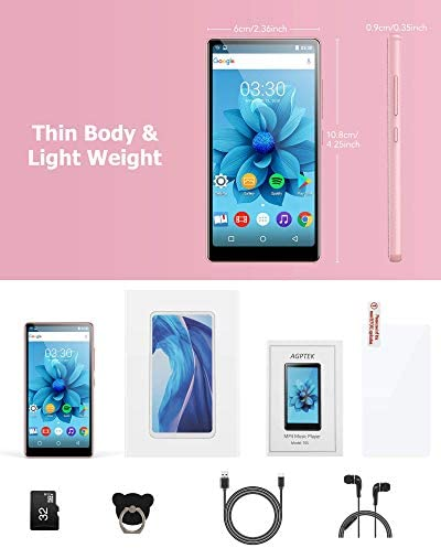 WiFi MP4 Player with Bluetooth, AGPTEK 4 inch Touch Screen 8GB Video Music Player Support APPs, Spotify, FM Radio, as much as 32GB, Pink