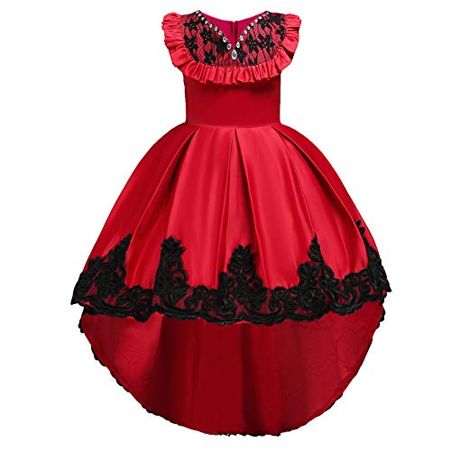 HUANQIUE Girls Pageant Flower Girl Bridesmaid Dress Hi-Low Ball Party Gowns Red 12-13 Years