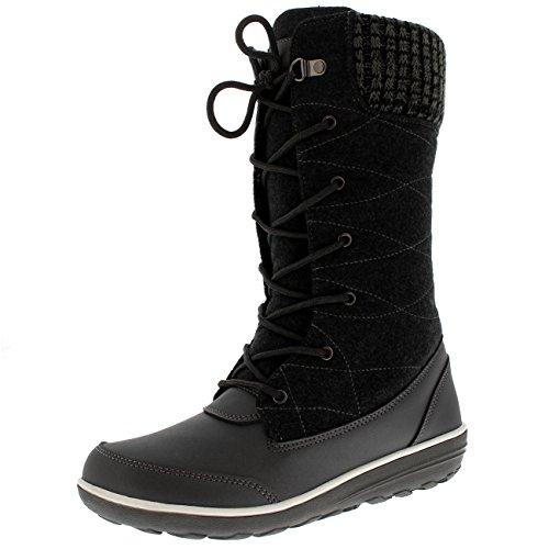 s Rain Winter Snow Duck Waterproof Mid Calf Boots - Gray - US8/EU39 - YC0508 (Waterproof Tall Lace)
