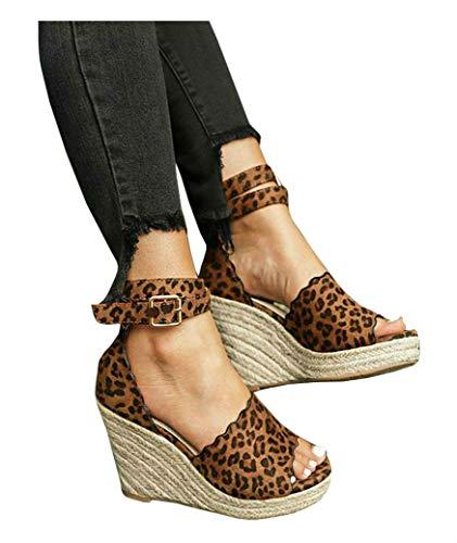 - PiePieBuy Women's Wedge Espadrilles Platform Ankle Buckle Open Toe Ruffled Faux Suede Dress Sandals