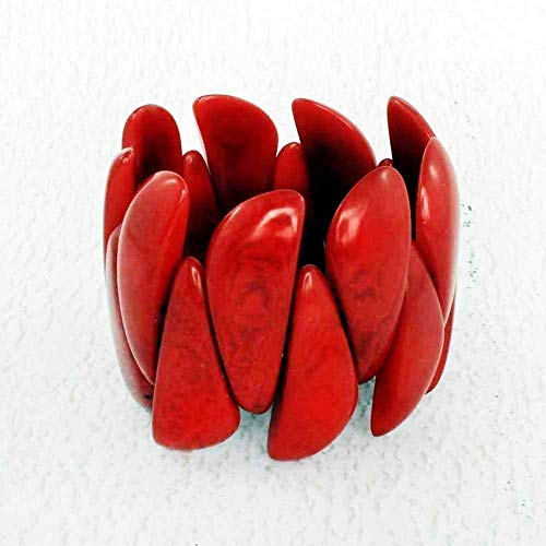 (True Red Stretch Bracelet made from Eco Tagua Nut)