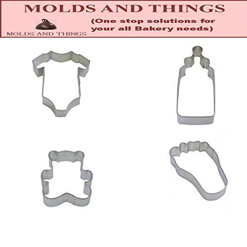 R&M 4 - Baby Themed Cookie Cutters -Baby Bottle, Teddy Bear, Foot and Onesie
