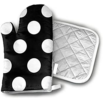 CHFSTi Oven Mitts Black and White Polka Dot Non-Slip Silicone Oven Mitts& Pot Holders, Heat Resistant to 500Fahrenheit Degrees Kitchen Oven Gloves