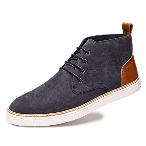 (Baronero Men's Suede Ankle Chukka Boots Lace Up Casual Fashion Walking Shoes US 12 Blue)