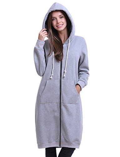 sual Zip Up Pockets Sweatshirt Oversize Long Hoodie Outerwear Jacket Light Grey XL ()
