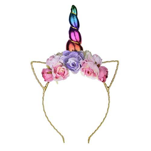 A Miaow Golden Unicorn Headband Rainbow Girls Birthday Floral Crown Halloween Cat Ear Cosplay Headpiece Party Favor (Rainbow Flower)