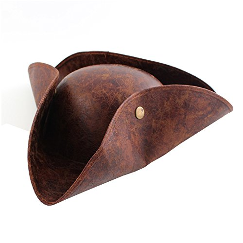 Tricorn Leather Look Pirate Hat Cap Christmas Party Xmas Costume Cosplay - Brown