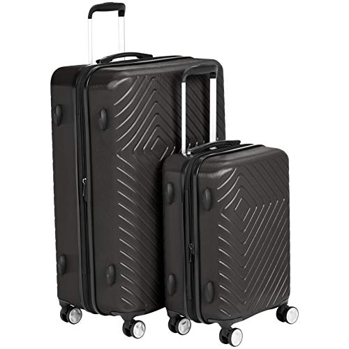 2 Piece Spinner Set - AmazonBasics 2 Piece Geometric Hard Shell Expandable Luggage Spinner Suitcase Set - Black