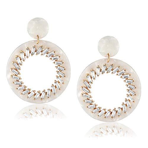 BSJELL Statement Hoop Earrings Acrylic Resin Drop Earrings Bohemian Crystal Leopard Print Tortoise Shell Double Circle Hoops Lightweight Jewelry ()