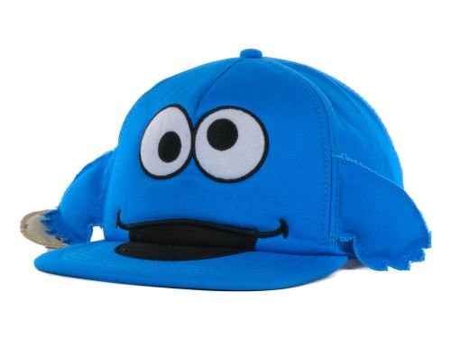(Sesame Street Cookie Monster Cookie In Hand Big Face Blue Youth Snapback Hat)