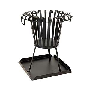 Garden Metal cuenco de acero inoxidable chalupa en color negro 460 mm de diámetro acabado visualizarse con parte superior madera de fresno con bandeja recogemigas