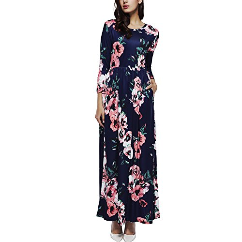 YUMDO Women's Long Sleeve Floral Print Crew Neck Dress Autumn Winter Maxi Dresses Dark Blue M