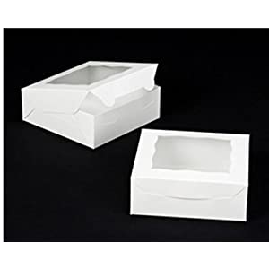 White Bakery Box with Window - 25 Pack- 7 X 7 X 2 1/2 in - Best for pastries, cupcakes, cookies, cakes and more - Also Environmentally Friendly- with window lock and tab box - by California Containers