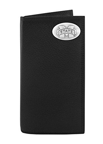 NCAA Mississippi State Bulldogs Men's Pebble Grain Leather Roper Concho Wallet, Black, One Size