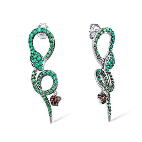 - Santuzza Sterling Silver Emerald Color Stone Snake Earrings
