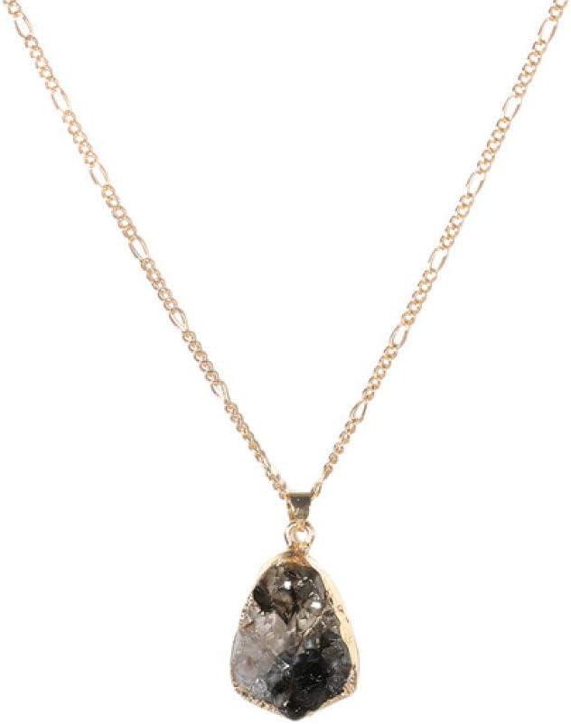 Collar De Mujer,Marrón Colores Geometría Minimalista Colgante De Piedra Clásico Moda Damas Collares Glamour Chica Vintage Oro Color Gargantilla Estilo Bohemio Joyería Aniversario