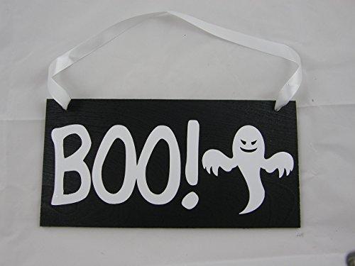 [Halloween Wood Sign Door Hanger Wall Hanger Boo With Ghost] (Wood Boo Sign)