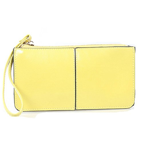 Eysee - Cartera de mano para mujer negro amarillo limón 20.5cm*11cm*1.5cm. amarillo limón